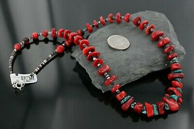 $300Tag Certified Silver Navajo Graduated Coral Turquoise Necklace 390680673641