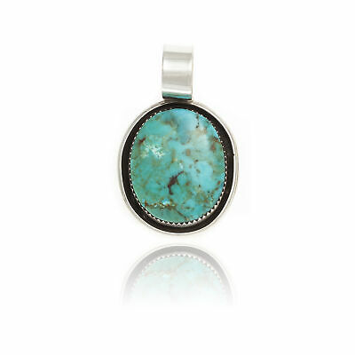 $100Tag Silver Certified Navajo Native Natural Turquoise Necklace 12909-2