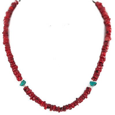 $240Tag Certified Silver Navajo Turquoise Coral Native Necklace 750219-10