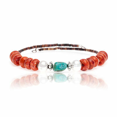 $90Tag Natural Turquoise Coral Certified Navajo Native Wrap Bracelet 13131-1