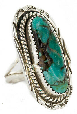 $300Tag Flower Leaf Opal Silver Certified Navajo Native Ring Size 7 1//2 26205-10 Made by Loma Siiva