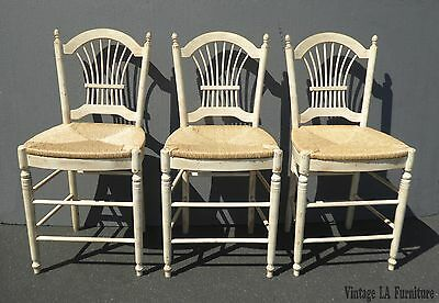 Three French Country Off White Bar Stools w Rye Rush Seats Ethan Allen Style