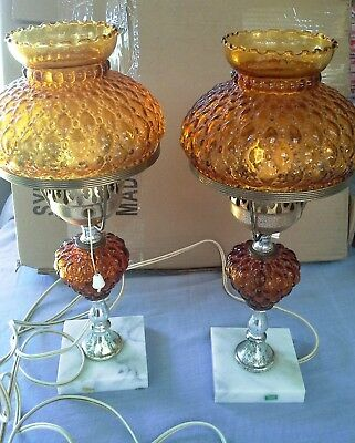 Two Vintage Table Lamps, Working, Marble base, Amber Shade Italy