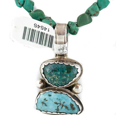 $470Tag $470 TagIng Silver Certified Navajo Turquoise Coral Necklace 14545-15844