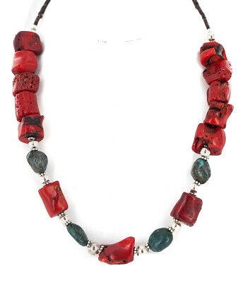 $270Tag Silver Certified Navajo Turquoise Coral Native American Necklace 24511-9