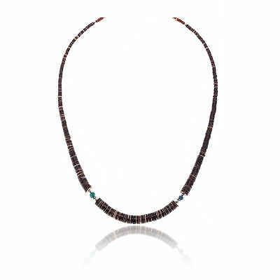 $150Tag Silver Certified Navajo Native Turquoise Graduated Necklace 25496