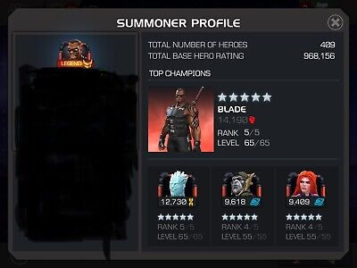 MARVEL CONTEST OF Champions MCOC Account W Legend Title God Heros