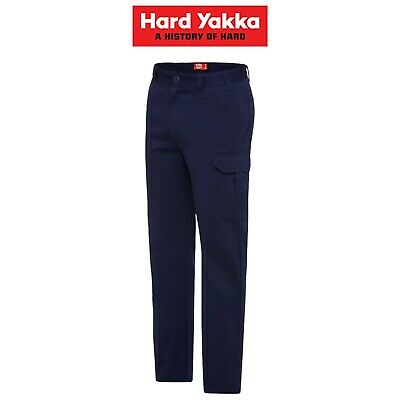Mens Hard Yakka Core Drill Pants Work Cotton Ruler Pocket Cargo Tough Y02570
