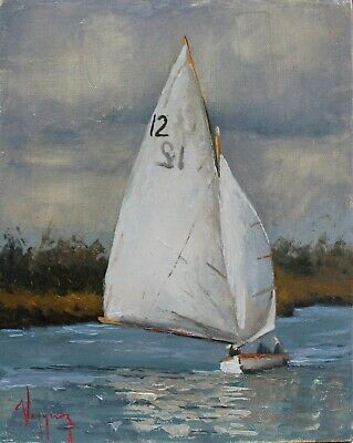 """seascape oil painting gray sailboat original art direct by artist 8 x 10"""" signed"""