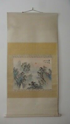 Vintage Art Asian Wall Scroll, Silk Hand Painted Oriental Wall Decoration