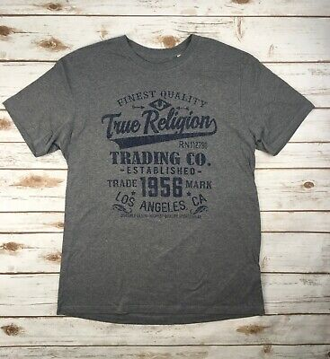 a645eec62 Mens True Religion Jeans T-Shirt Crew Graphic Logo Top Shirt Grey Heather XL