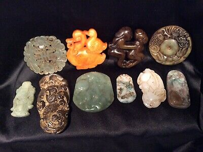 Chinese Exquisite Hand Carved Big Lot Of 10 Jade Jadeite Vintage Carving Pendant