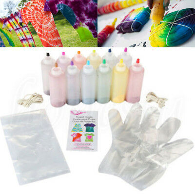12 Pieces Tulip One Step Tie Dye Kit Vibrant Fabric Textile Permanent Paint Tool