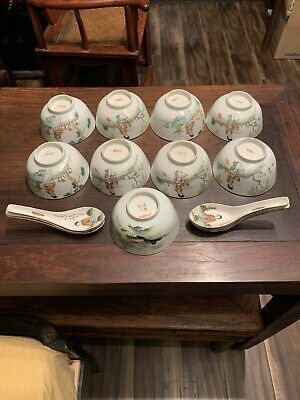 chinese antique porcelainset Bowls Qing China Asian