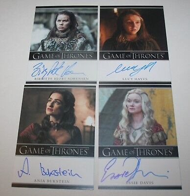 Game of Thrones Season 7 Bordered Auto lot of 4 Birgitte Hjort Sorensen + 3