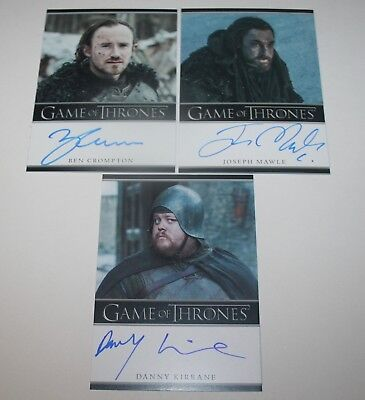 Game of Thrones Season 7 Bordered Auto lot of 3 Ben Crompton Joseph Mawle Benjen