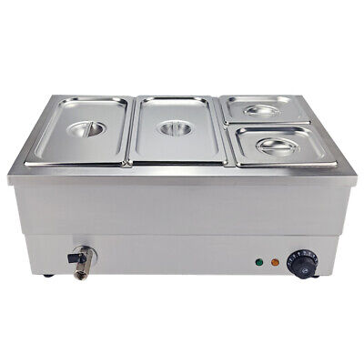4 Pots Electric Commercial Bain Marie Catering  Wet Heat  1/3 &1/6 Food Warmer