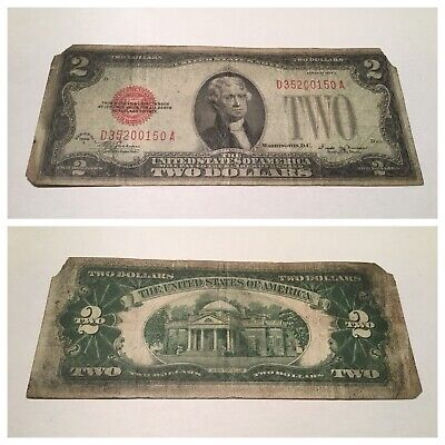 Vintage $2 1928-E UNITED STATES NOTE TWO DOLLARS DOLLAR BILL JEFFERSON RED SEAL