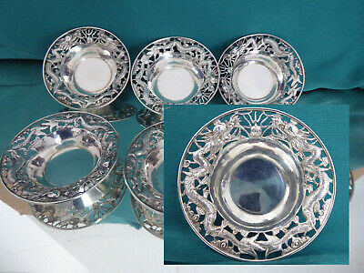 Asia China export solid silver 6 bowls with filigree edges, 183 gr