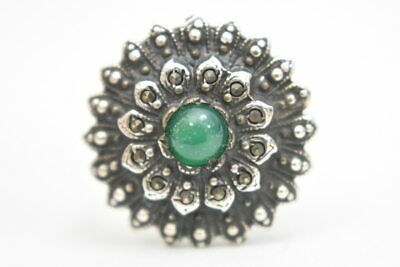 art deco ring green flower marcasite round sterling silver women  Size  6.25