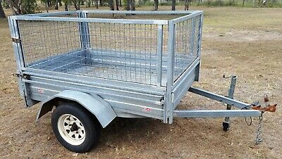 GALLINE 6x4 Galvanised Caged Trailer Jockey 6/19 Reg Exc Condition