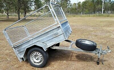 HANS 6x4 Galvanised Caged Tipping Trailer Spare Tyre Jockey Exc Condition