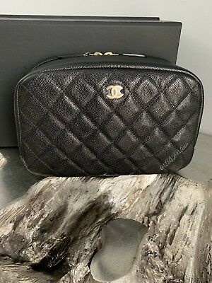 5141a6337eb2fe NWT CHANEL Black Caviar Beauty CC O-Case DEEP Pouch 2018 XL Coco Voyage NEW