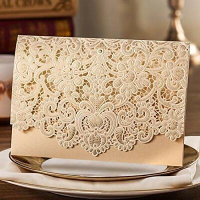 GOLD LASER CUT Wedding Invitations Card Kit with Envelopes Personalized  Printing