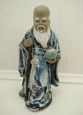Vintage Chinese Mud Man pottery figurine Immortal Good Fortune Man