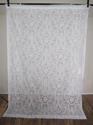 """Curtain Lace Panel Damask Flowers Floral 52"""" W x 76"""" L Victorian Vintage Ivory"""