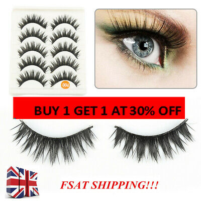 False Eyelashes Set Natural Long Thick Fake Eye Lashes Extension 5 Pairs - UK