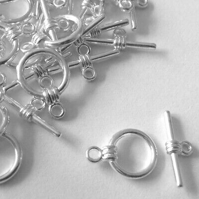 Silver Toggle Clasps Jewellery Findings Necklaces Bracelets Link Round Clasps