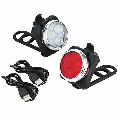 USB Rechargeable LED MTB Bike Bicycle Front Lights Set Headlight Tail Rear Lamps