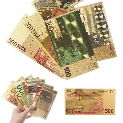 7pcs/set Euro Banknote Gold Foil Paper Money Craft Collection Bank Currency Gift