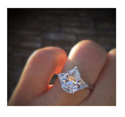 Friendly 3ct Pear Cut Diamond Trilogy Engagement Ring 14k White Gold Over Trillion Sides Fine Rings