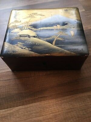 Japanese Box  Lacquered Wooden Kodansu Vintage Lacquer Ware Red Gold With Key