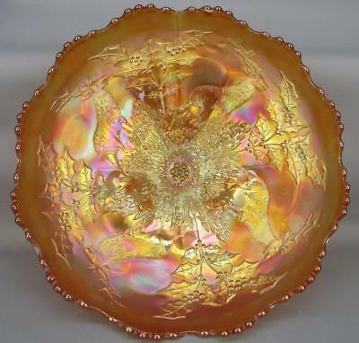 """STAG & HOLLY Fenton Marigold Carnival Glass 10"""" Round Footed Bowl 5593"""