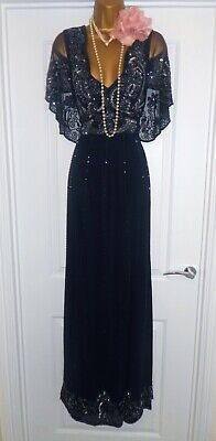 Vintage 1920s Style Gatsby Flapper Charleston Sequin Beaded Dress Size 10 NEW