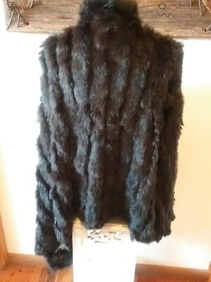 VINTAGE RICH BROWN FUR SHORT JACKET, large PREOWNED IN VG COND