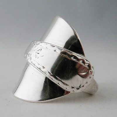 Silver Spoon Ring Stunningly Ornate Handmade Antique Heavy Sterling date 1899