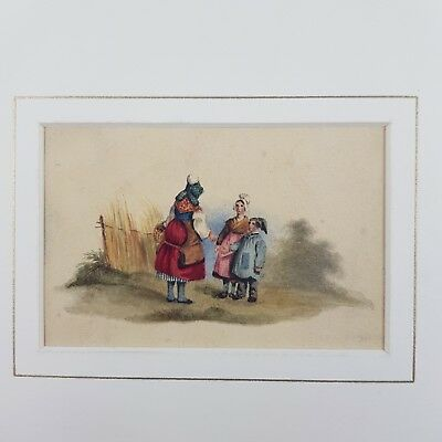 Small Antique 19th Century Watercolour Of A Mother and 2 children