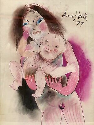 """Original Pastel Painting by Anne Marie Hall """"Mother and Child"""" Signed Top Right"""