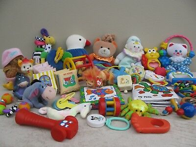 Bulk Lot of Newborn Baby Toys and Music Boxes - total of 33 items
