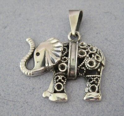Mexican 925 Silver Taxco Oxidized Etched Good Luck Large Unique ELEPHANT Pendant
