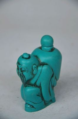 Chinese Turquoise Handwork Carved Snuff Bottle