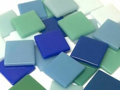 Ocean Blue Mix Gloss Glass Mosaic Tiles 2.5cm - Art Craft Supplies
