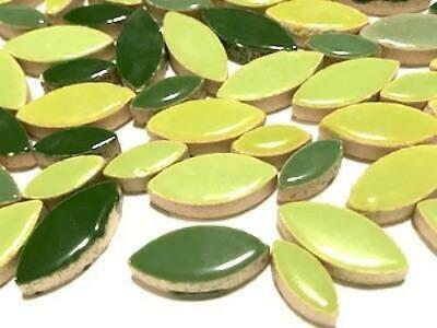 Green Mixed Ceramic Petals for Mosaic Art Craft Supplies