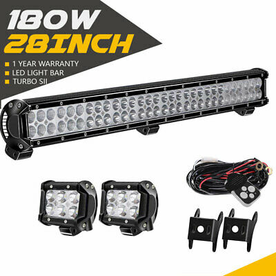 "28"" 180W LED Work Light Bar Flood Spot Beam & 4"" 18W Pods Cube For Ford Offroad"