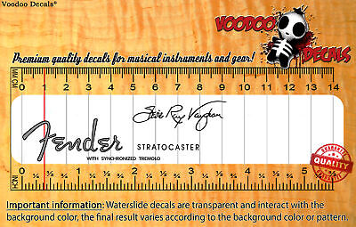 Fender Stratocaster Stevie Ray Vaughan SET (Grey logo) Waterslide Decals