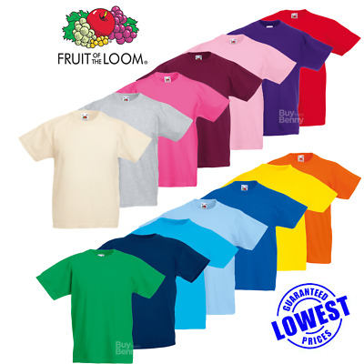 3 Pack Fruit Of The Loom CHILDRENS T-SHIRT CREW NECK TOP PLAIN TODDLER PE KIDS A